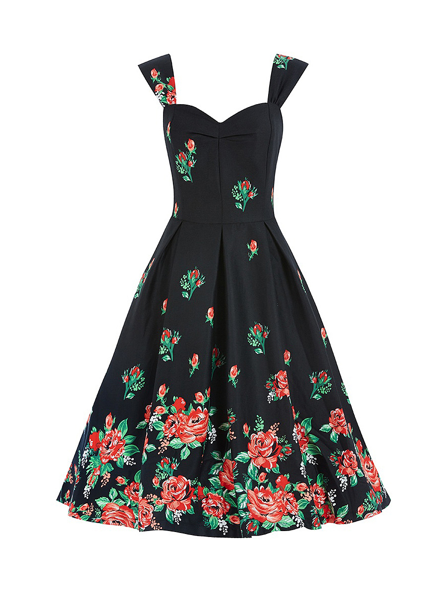 Excellent Floral Printed Sweet Heart Plus Size Flared Dress