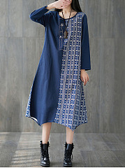 Round Neck Casual Printed Oversized Maxi Dress