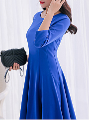 Crew Neck  Ruffled Hem  Plain Skater Dress