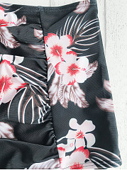 High Waisted Floral Printed Swimwear
