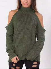Plain Hollow Out Long Sleeve Loose Sweater