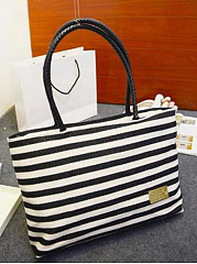 Large Capacity Fashion Striped Canvas Shoulder Bag