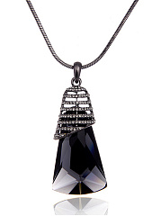 Geometric Imitated Crystal Long Necklace