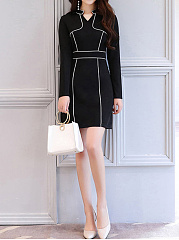 Band Collar  Contrast Trim Patchwork  Color Block Bodycon Dresses