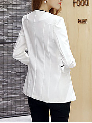 Collarless  Contrast Trim  Single Button Blazer