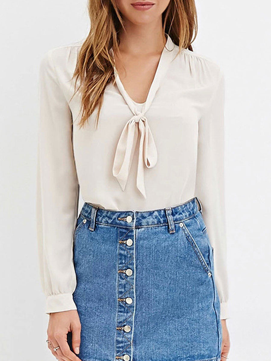 Tie Collar  Plain  Long Sleeve Blouses