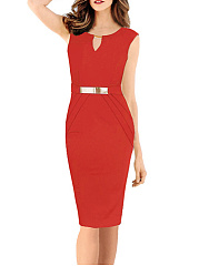 Round Neck Keyhole Decorative Hardware Bodycon Dress