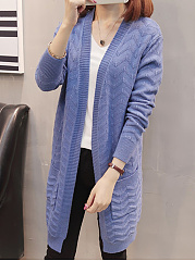Slit Pocket  Zigzag Striped  Long Sleeve Cardigans