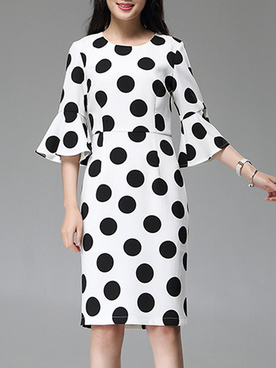 Polka Dot Bell Sleeve Round Neck Bodycon Dress
