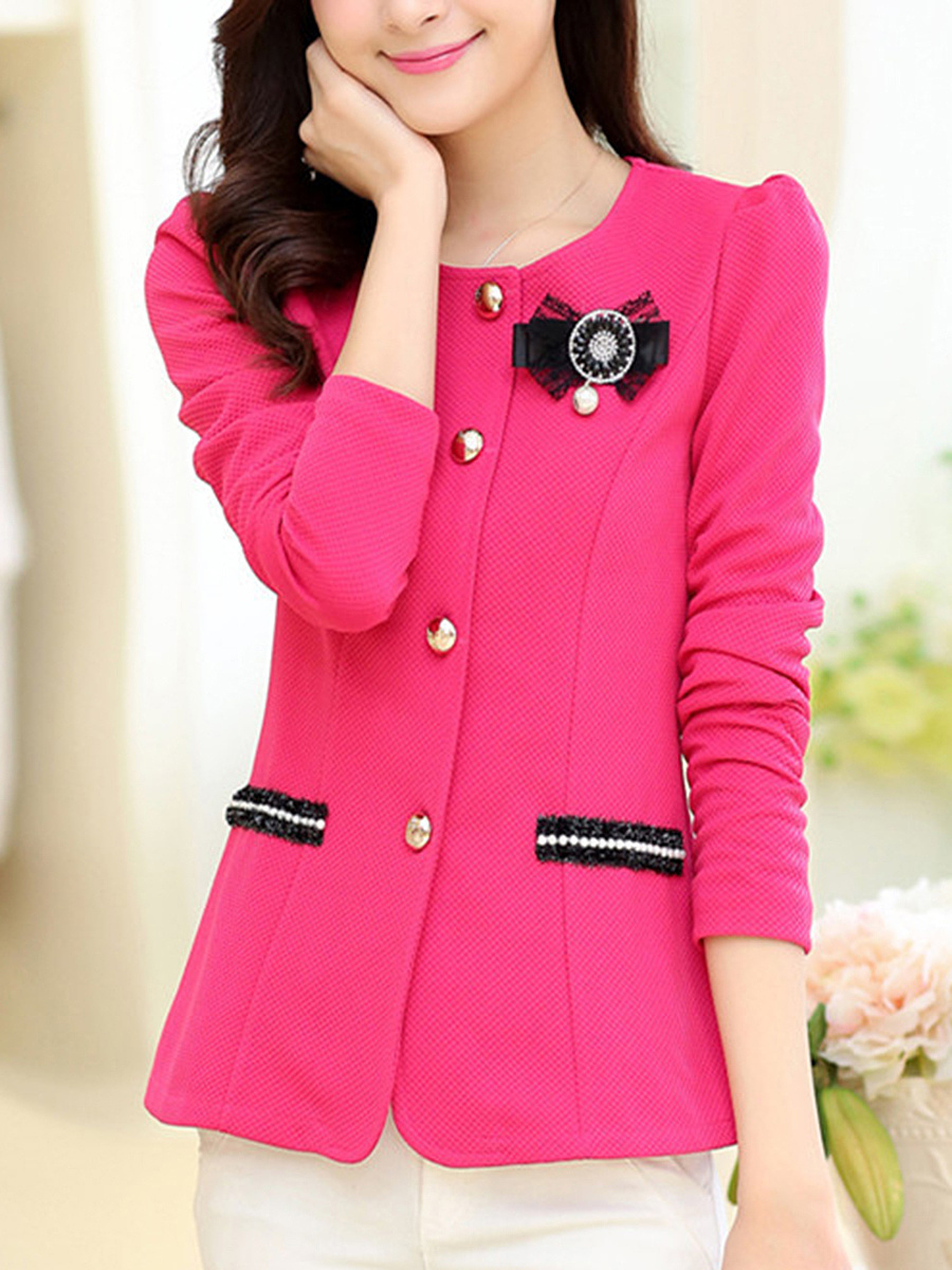 Single Breasted Plain Brooch Blazer