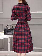Band Collar Plaid Belt Pocket Midi Skater Dress