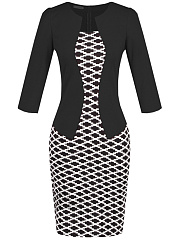 Graceful Plaid Belt Bodycon Dress