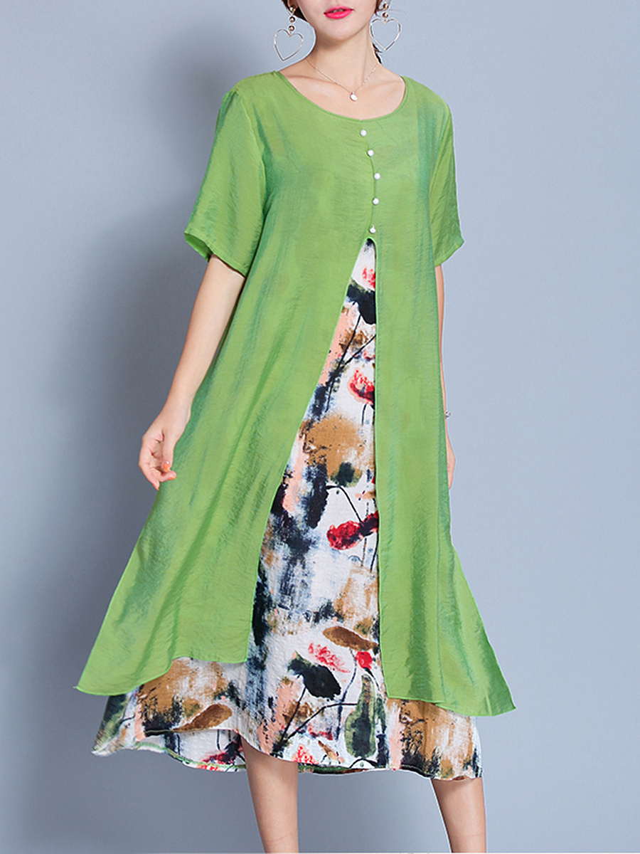 Round Neck  Abstract Print Fake Two-Piece Maxi Dress