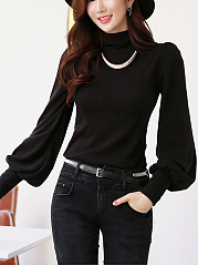 Turtleneck  Plain  Puff Sleeve Blouse