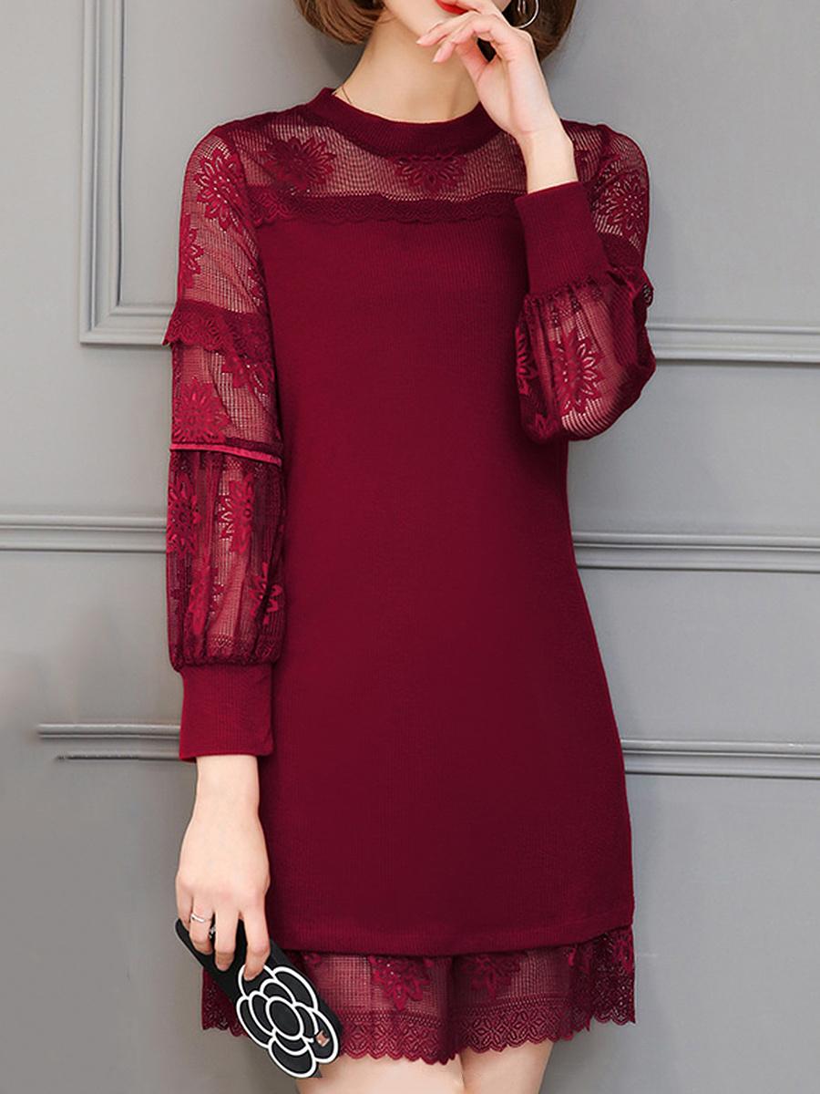 Band Collar See-Through Plain Lace Mini Bodycon Dress