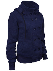 Hooded Double Breasted Pocket Plain Coat