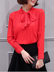 Tie Collar  Bowknot Pleated Plain Blouse