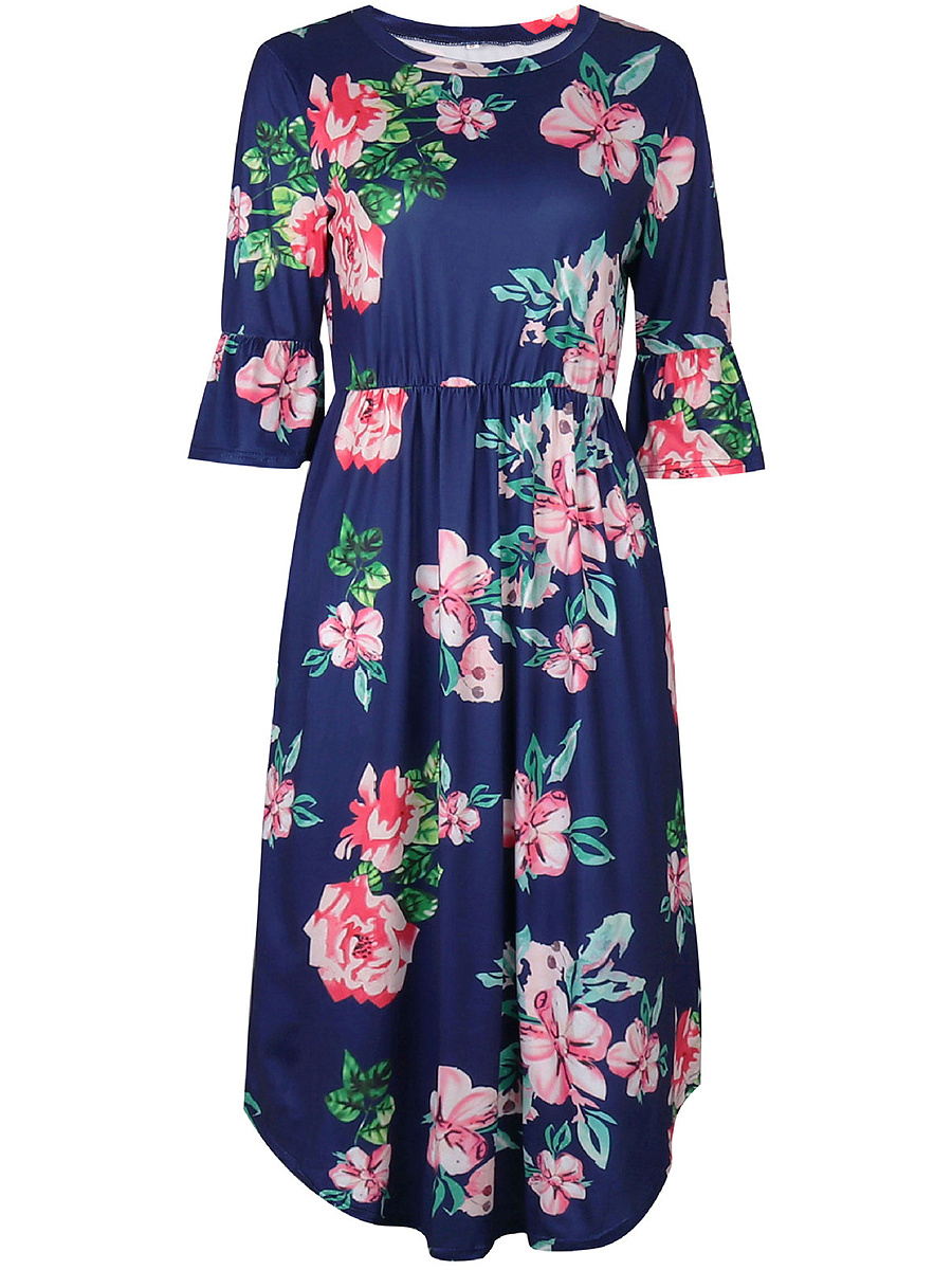 Bell Sleeve Floral Printed Midi Skater Dress