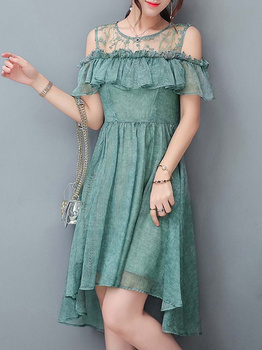 Open Shoulder Flounce Hollow Out Plain High-Low Skater Dress
