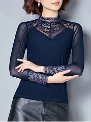 Autumn Spring  Blend  Women  Band Collar  Decorative Lace See-Through  Plain  Long Sleeve Long Sleeve T-Shirts
