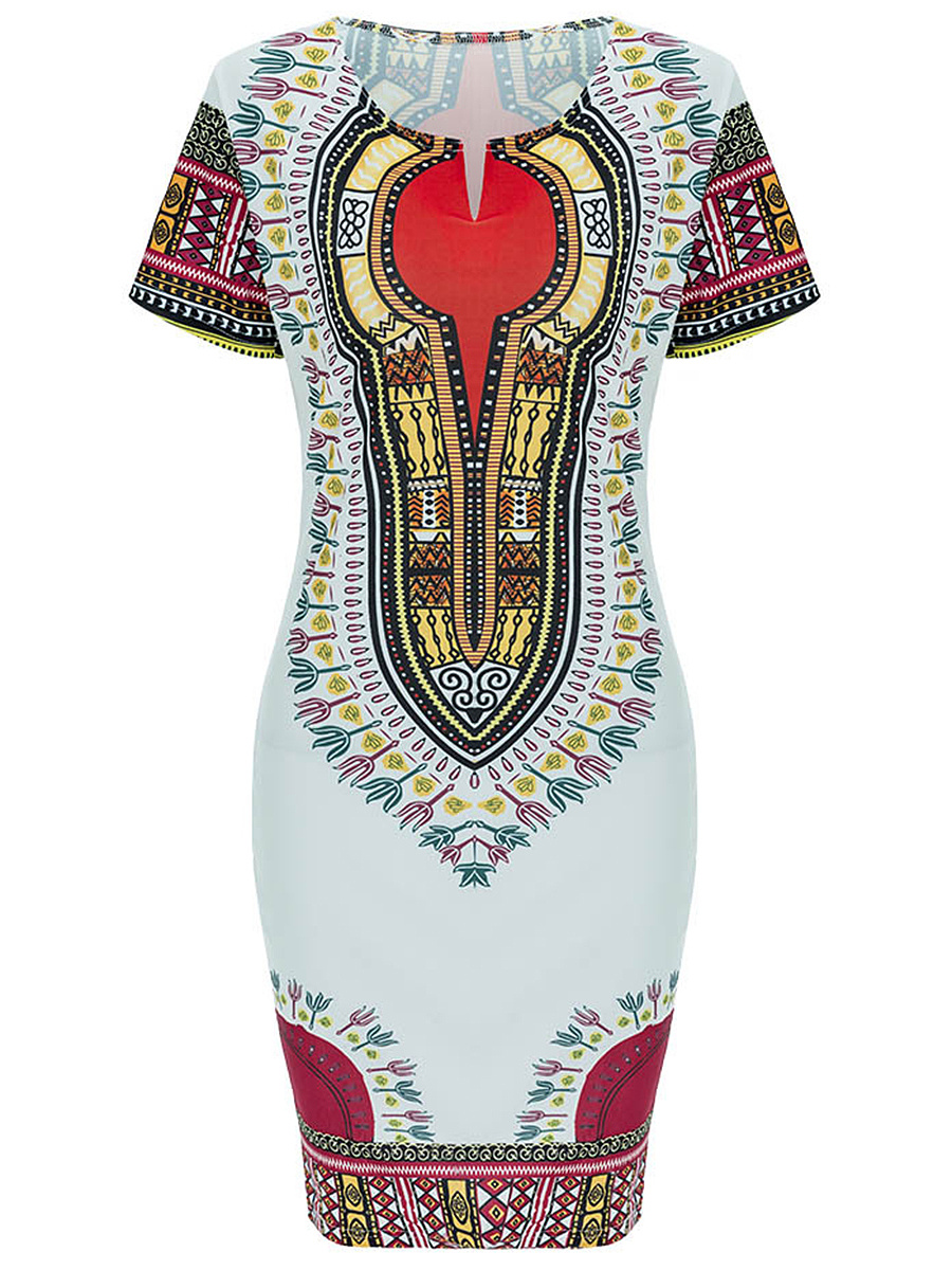 Split Neck  Tribal Printed Bodycon Dress