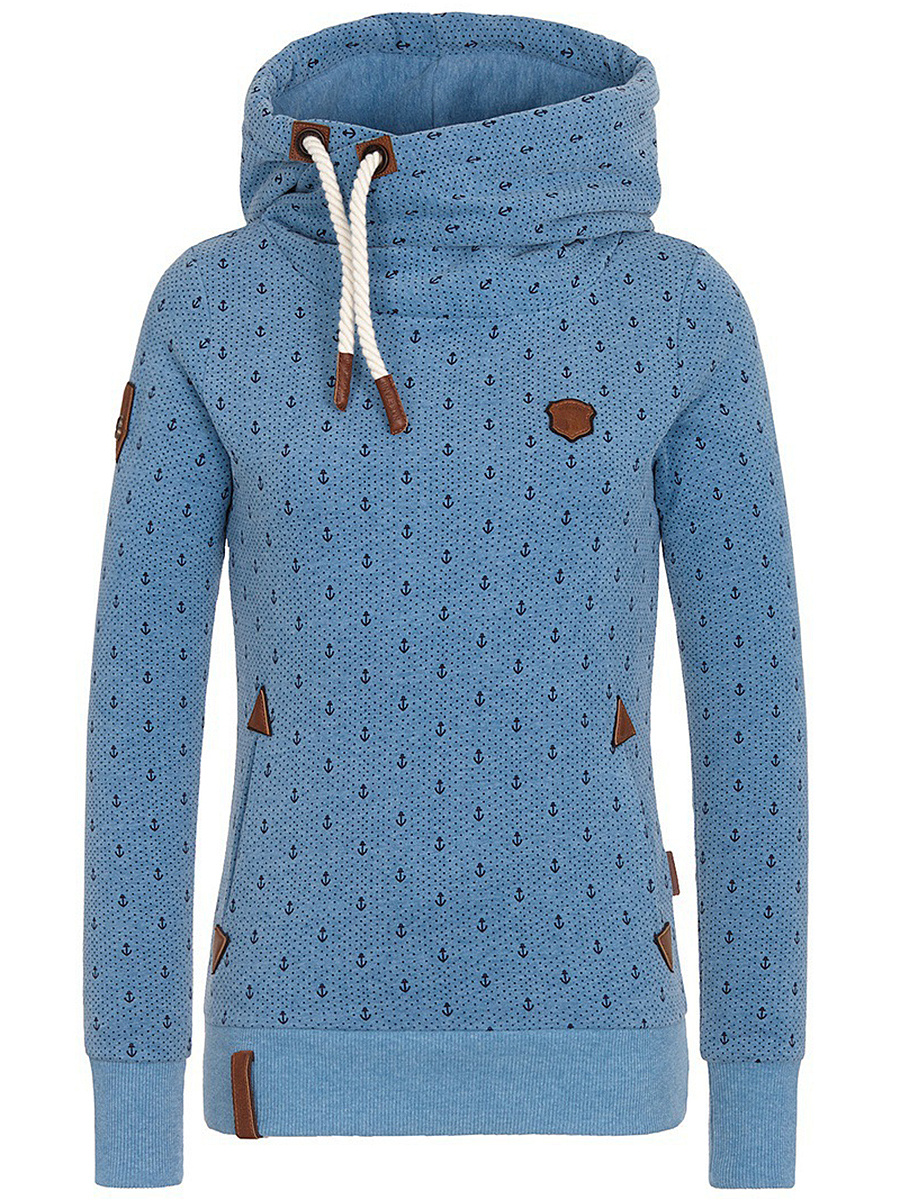 Allover Anchor Dot Printed Pocket Hoodie