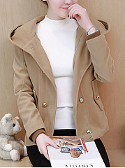 High Neck  Double Breasted  Plain  Long Sleeve Coats