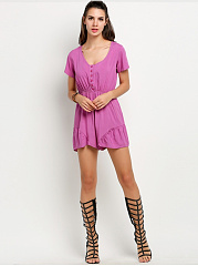 Scoop Neck Single Breasted Plain Modern Bootcut Romper