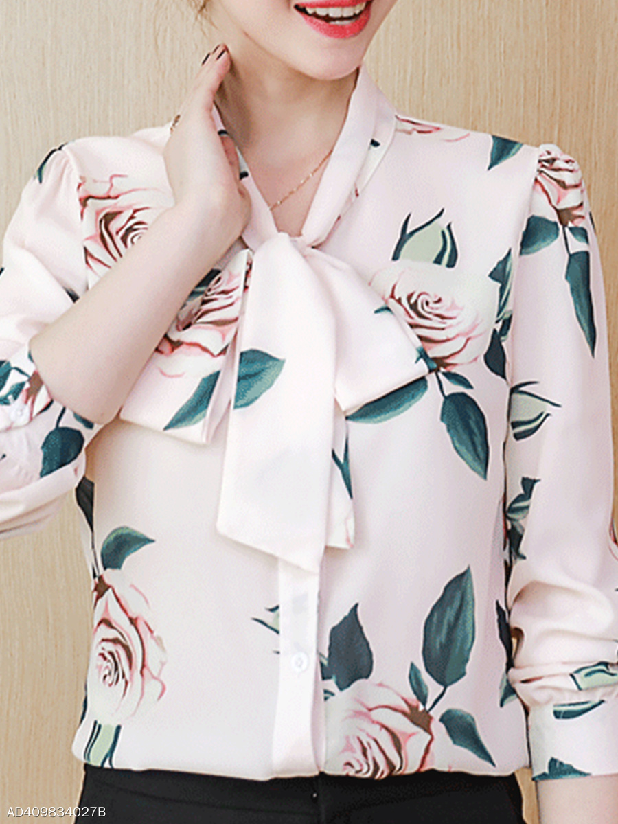 Bow Collar  Loose Fitting Patchwork  Floral  Batwing Sleeve Blouses