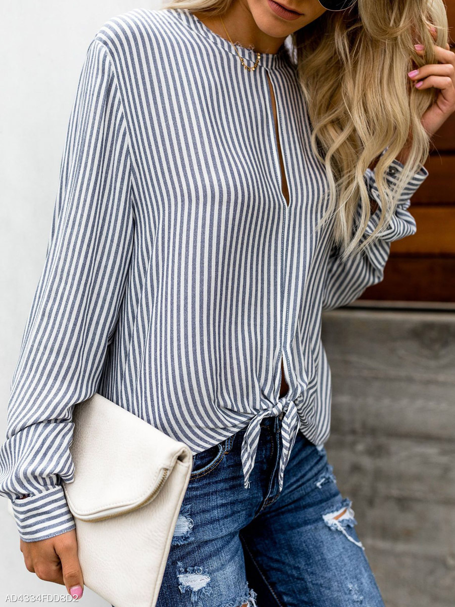 Women's  Round Neck  Hollow Out  Striped  Long Sleeves Blouses