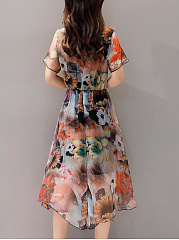 Round Neck  Floral Hollow Out Printed Midi Skater Dress