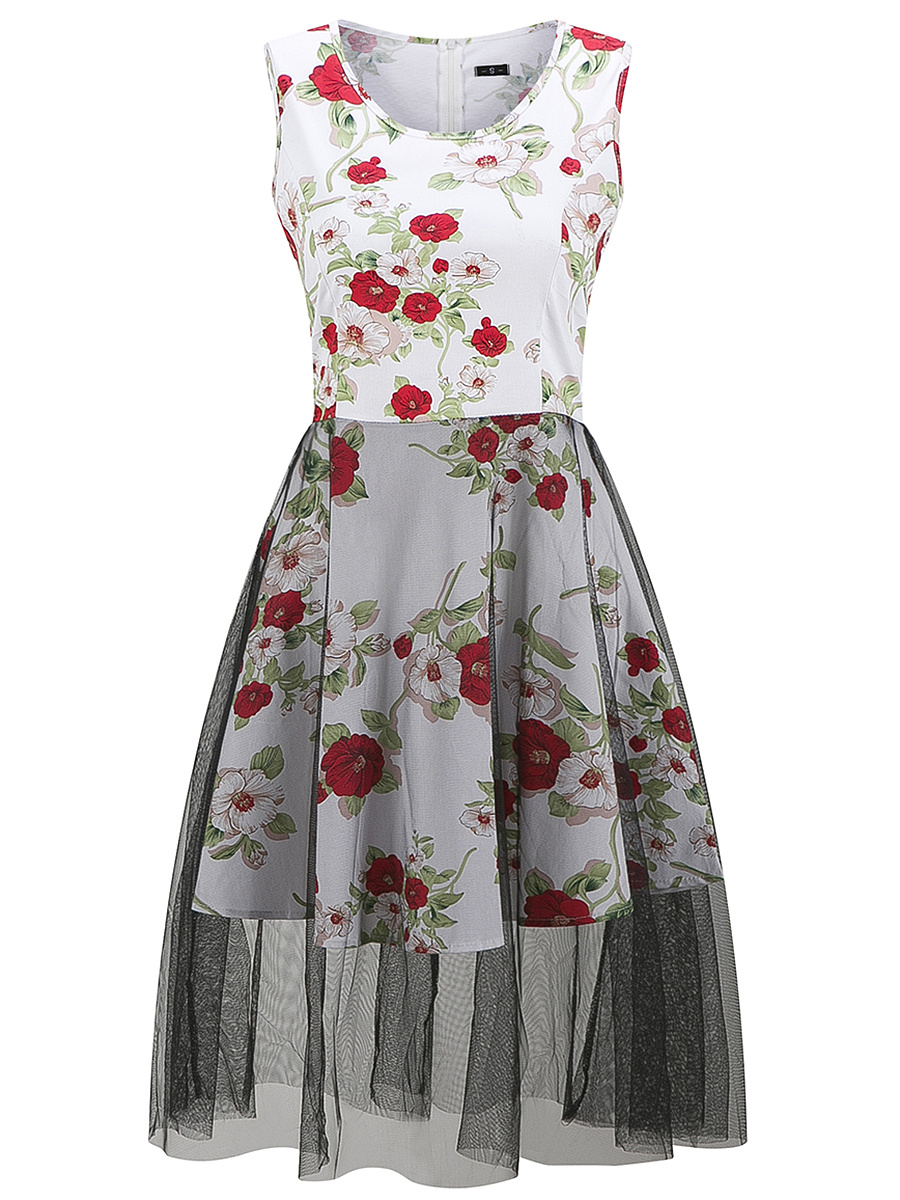 Floral Printed Round Neck Patchwork Cotton Skater Dress