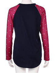 Autumn Spring  Polyester  Women  Round Neck  Color Block Polka Dot Long Sleeve T-Shirts