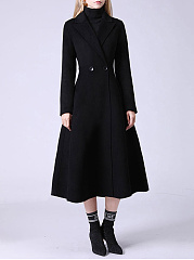 Notch Lapel  Plain  Long Sleeve Coats