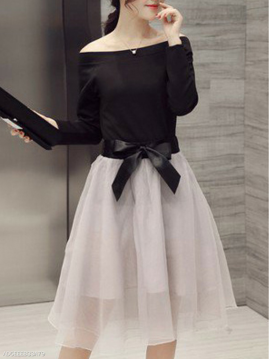 Open Shoulder  Bowknot  Plain Skater Dress