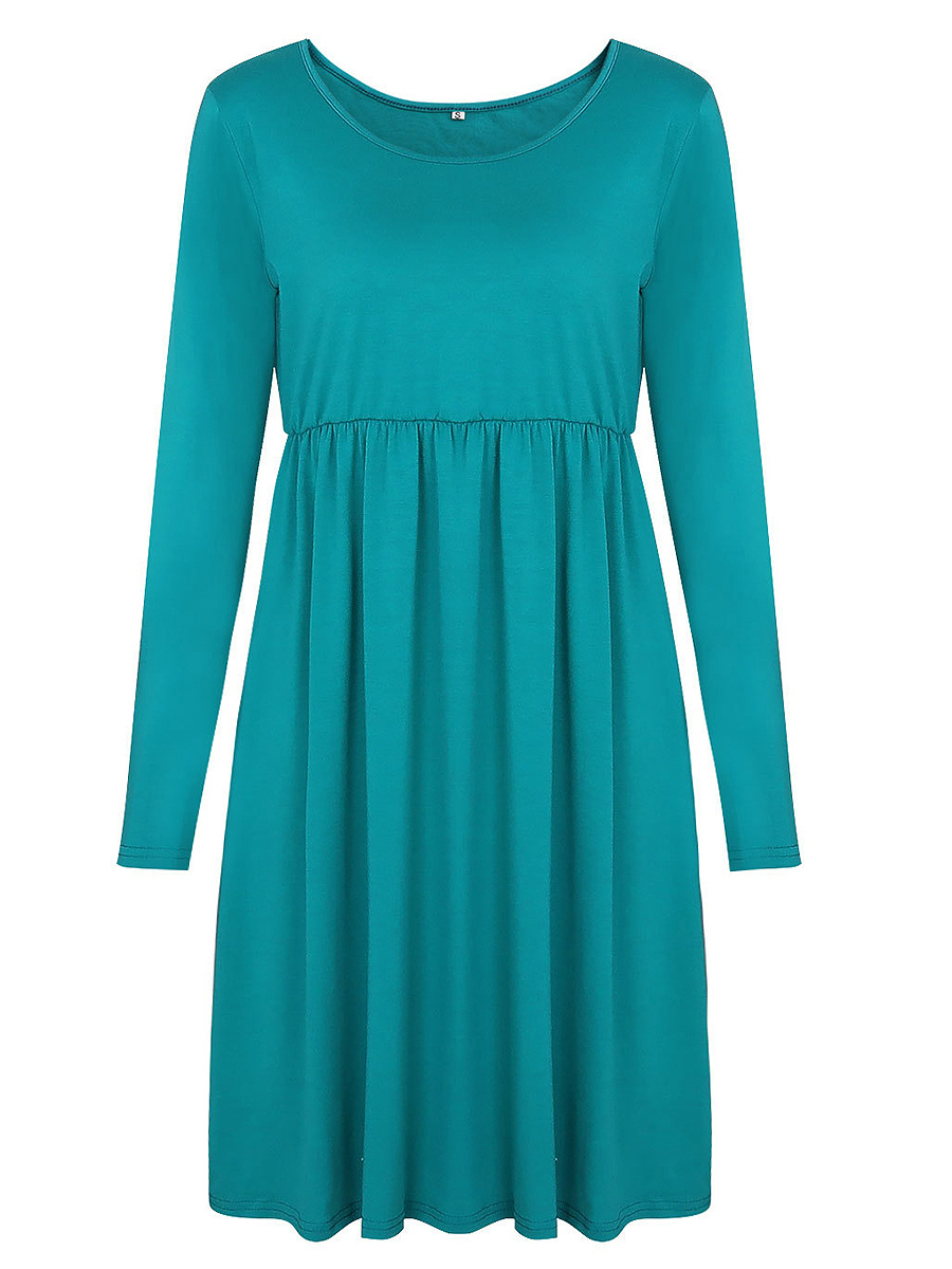 Simple Round Neck Plain Shift Dress