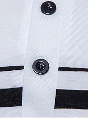 Polo Collar  Contrast Piping  Striped  Short Sleeve Polos