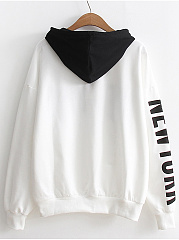 Color Block Kangaroo Pocket Letters Hoodie