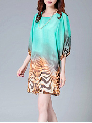 Round Neck  Leopard  Chiffon Shift Dress
