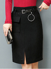 Plain Flap Pocket Belt Slit Woolen Pencil Midi Skirt