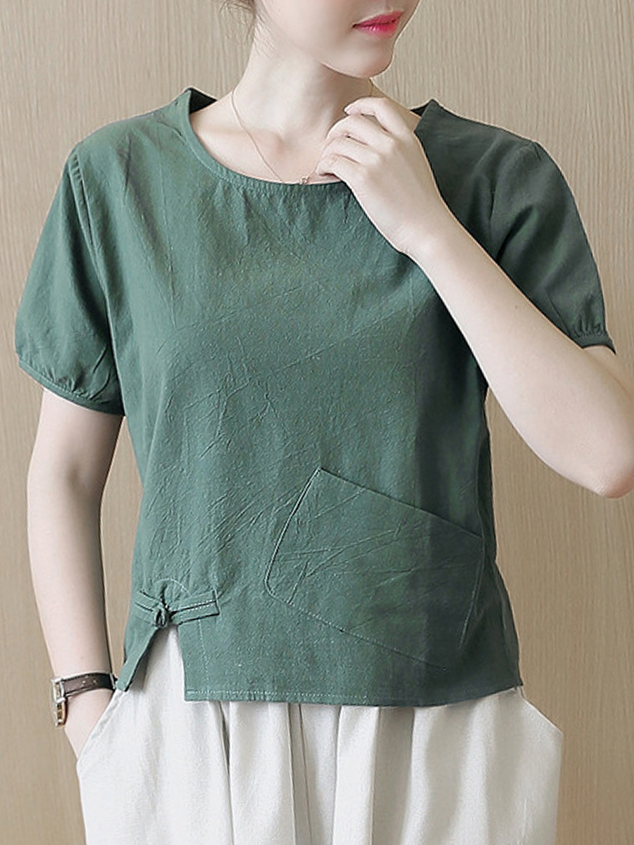 Round Neck Patch Pocket Vented Plain Short Sleeve T-Shirt