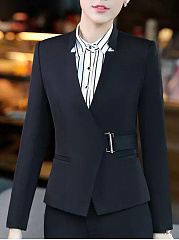 Office Band Collar Plain Blazer