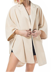 Notch Lapel  Decorative Button  Plain Cape