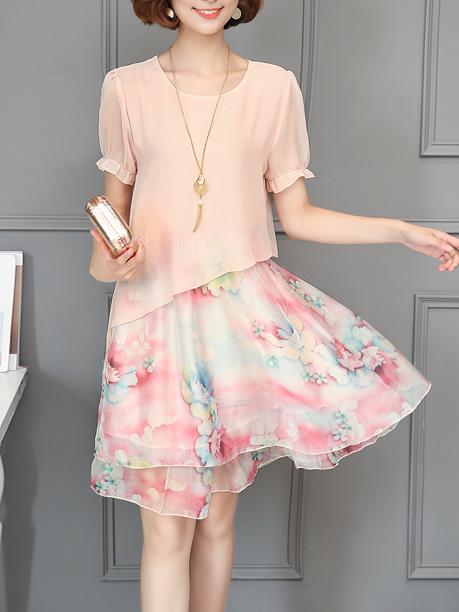 Lovely Round Neck Printed Chiffon Shift Dress