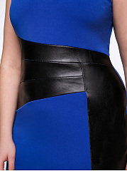 Patchwork Slit Attractive Color Block Plus Size Bodycon Dress