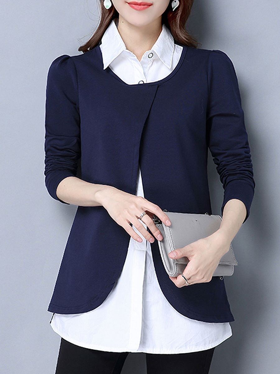Turn Down Collar  Fake Two-Piece  Plain Long Sleeve T-Shirts
