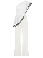 One Shoulder Striped Flounce Flared Jumpsuit