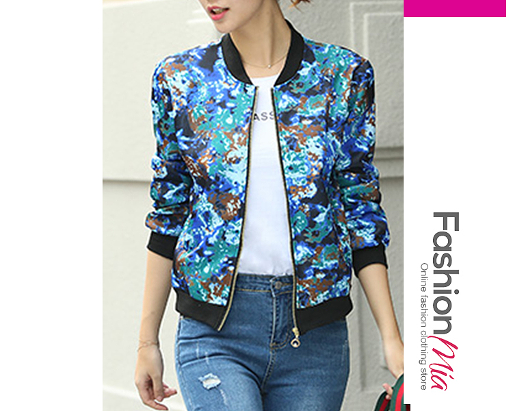 Image of Abstract Print Long Sleeve Jackets