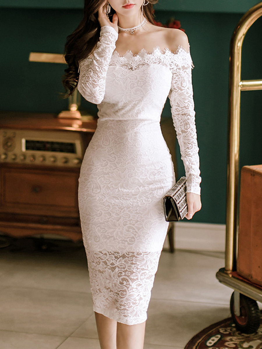 Off Shoulder Solid Lace Hollow Out Slit Midi Bodycon Dress