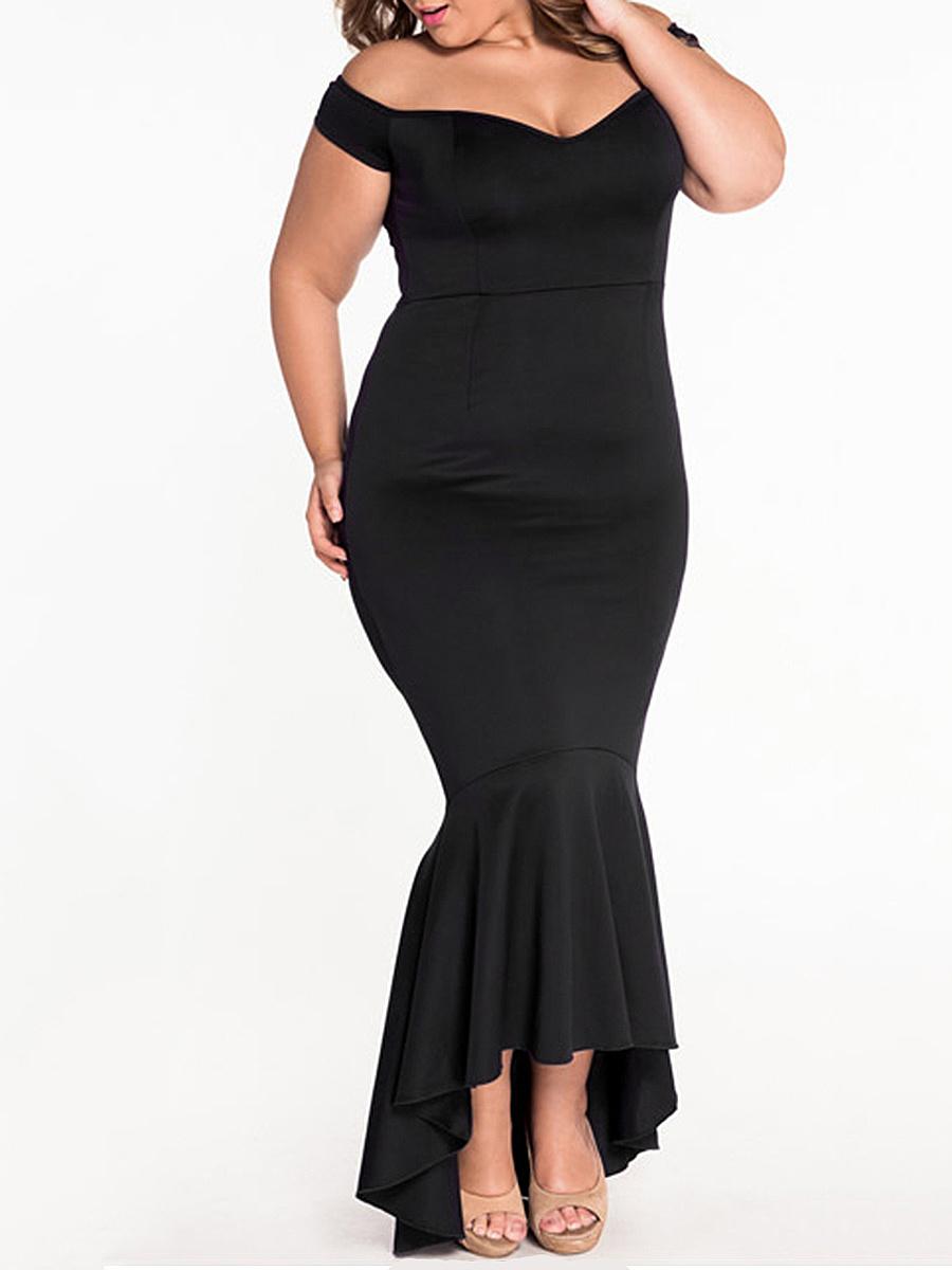Off Shoulder  Fishtail Hem  Plain Plus Size Midi & Maxi Dresses